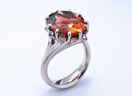 Meadow white gold ring with copper coloured tourmaline and diamonds