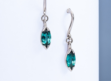 Floral white gold earrings with marquise tourmalines