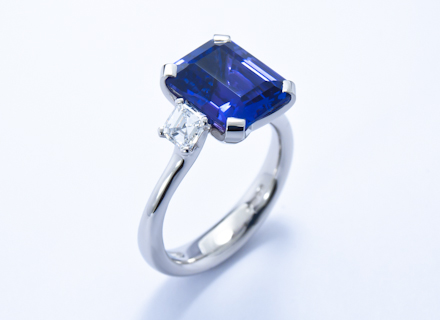 diamond cut emerald ring and tanzanite