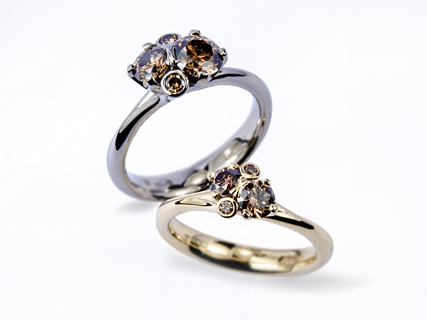 Spring Meadow rings, in Fairtrade gold with round brown brilliant cut diamonds