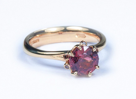 Brown-red sapphire Summer meadow ring