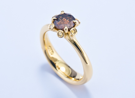 Meadow cluster yellow gold ring with brown diamonds