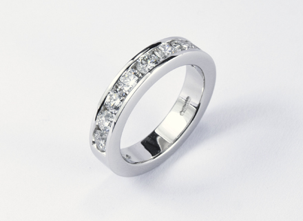 Eternity style platinum eternity ring channel set with round brilliant cut diamonds