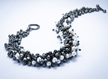 Yen Embellish oxidised silver and freshwater pearl bracelet