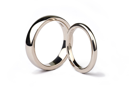 Fairtrade white gold wedding rings