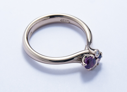 Meadow cross over cluster white gold ring with mauve sapphires and diamonds