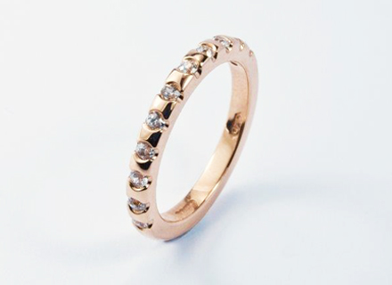 Eternity style rose gold ring end set with round brilliant cut diamonds